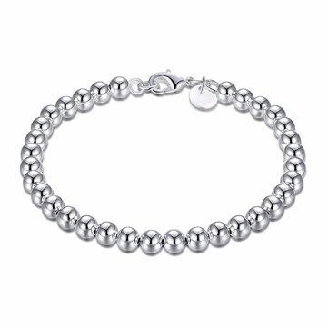Simple Women Bracelet Silver Plated Beads Bracelet