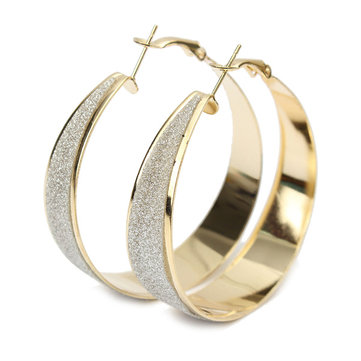 1 Pair Crystal Gold Silver Hoop Round Earrings