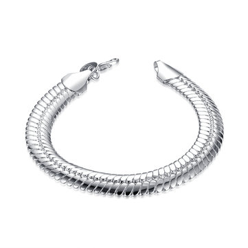 YUEYIN Men's Bracelet Simple Silver Plated Width Bracelet