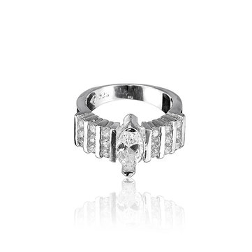 925 Silver Plated Crystal Ring