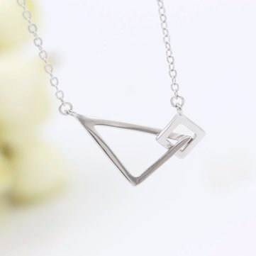 S925 Silver Geometric Square Triangle Clavicle Necklace