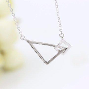 S925 Silver Geometric Square Triangle Clavicle Necklace
