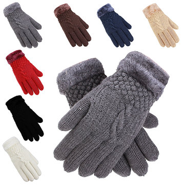 Winter Women's Warm Knit Gloves Faux Wool Warmer Finger Gloves
