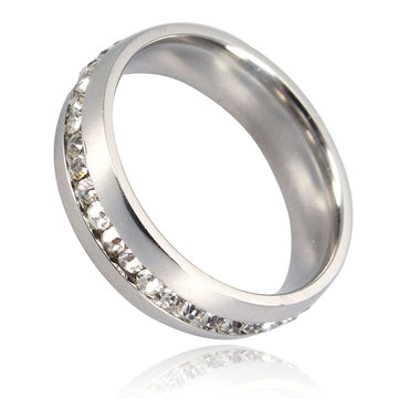 Stainless Steel Diamond Wedding Ring