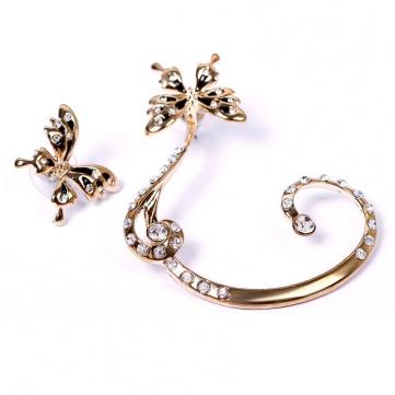 1 Pair Crystal Rhinestone Butterfly Ear Clip Earring