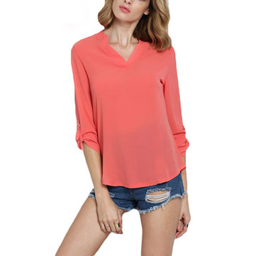 Women Long Sleeve V Neck Chiffon T-Shirt
