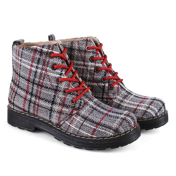 Ankle High Flat Casual Plaid Boots