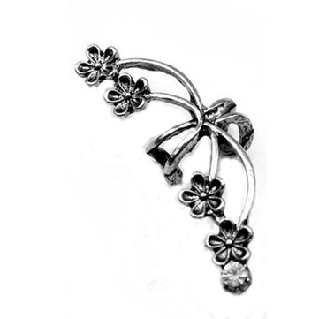 1 PC Crystal Flower Left Ear Cuff Clip Earring