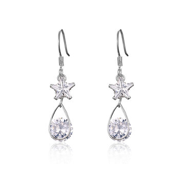 Trendy Tassel Earrings Star Rhinestone Crystal Water Drop Earrings