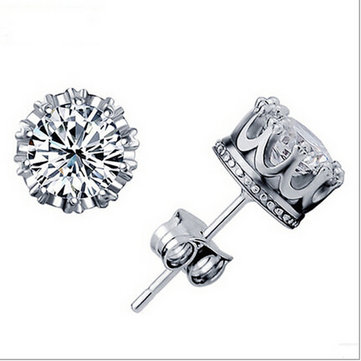 Silver Crown Zircon Crystal Stud Earrings