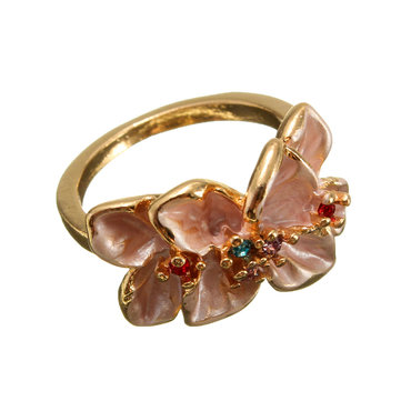 Enamel Flower Crystal Gold Plated Ring