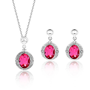Luxury Jewelry Set Crystal Rhinestone Earrings Necklace Set