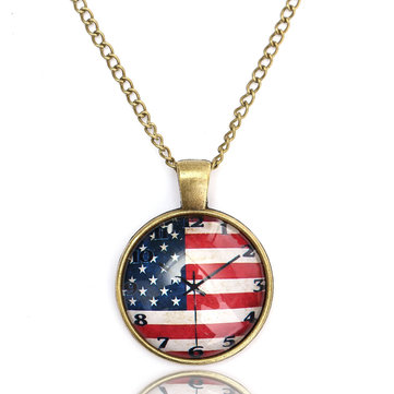 Retro Clock Flag Glass Pendant Necklace