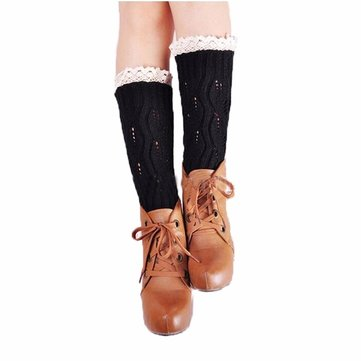 Women Knitted Boot Cuffs Lace Leg Warmers Ballet Dance Boot Stocking Boot Covers