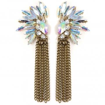 Shiny Rhinestone Alloy Chain Tassels Ear Stud Earrings