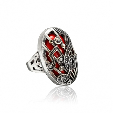 Hollow Sculpture Music Notation Double Insets Ring