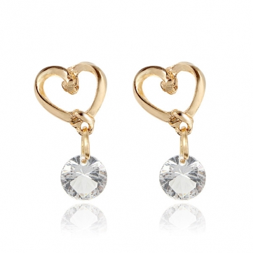 925 Sterling Silver Heart Round Crystal Earrings