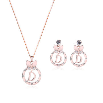 Cute Jewelry Set D Letter Rhinestone Earrings Necklace Set