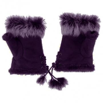 Women Ladies Fingerless Gloves Fur Winter Warm Hand Wrist Suede Mittens