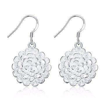 Sweet Women Earrings Retro Rose Flower Tassel Earrings