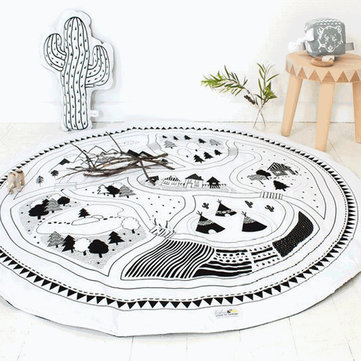 Round Chilren Play Rug Infant Kids Game Mats Home Bedroom Baby Crawling Blanket