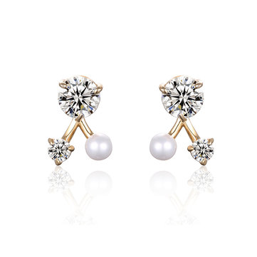 Trendy Women Earrings Triangle Pearl Crystal Earrings