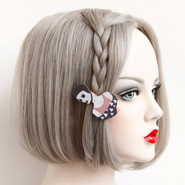 Europe Retro Headwear Vintage Girl's Cartoon Cotton Hair Clip
