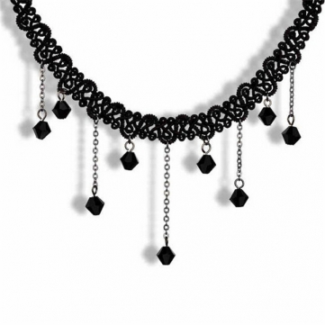 Lace Black Beaded Water Drop Choker Necklace