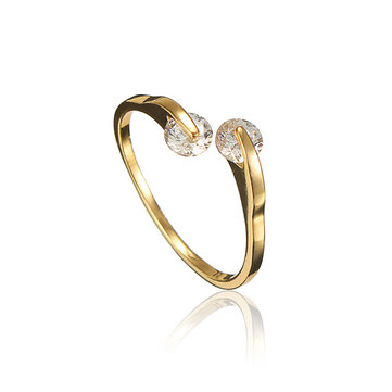 Gold Plated Crystal Opening Finger Ring
