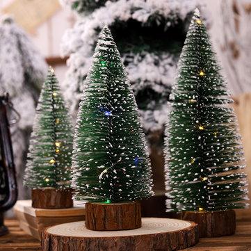 Loskii Albero di Natale Ornamento Albero di aghi di pino con luci Tavolo da festa Decorazioni natalizie da tavolo per regali di Natale per la casa