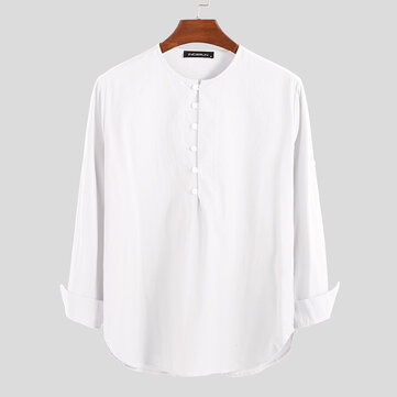 Mens Vintage Half Buttons Long Sleeve Pure Color Casual T-Shirts