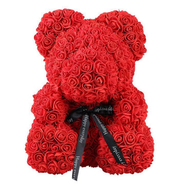 Artificial Flowers Rose Bear Plastic Foam Rose Teddy Bear Valentines Day Gift Birthday Party Decorations