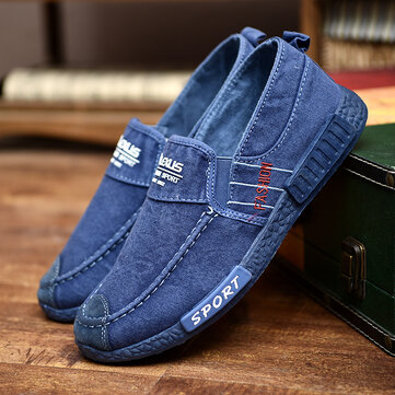 Men Canvas Lightweight Soft Soles Casual Walking Loafers