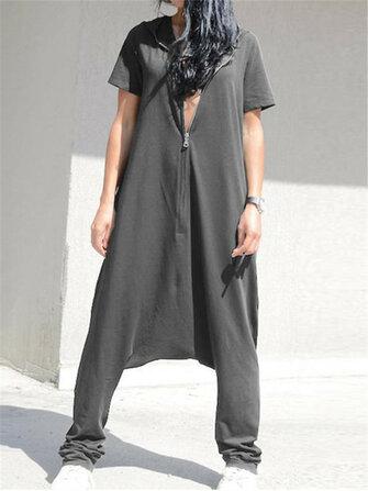 Women Casual Loose Short Sleeve Hoodie Harem Pants jumpsuit
