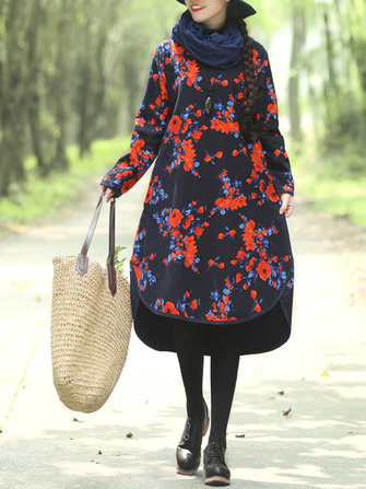 Women Vintage Folk Style Floral Print Long Sleeve Long Coats