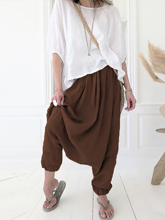 Solid Color High Waist Casua Harem Pants