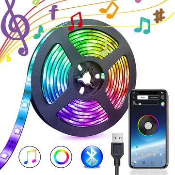 5V USB Alimentation Bluetooth Musique À Distance APP LED Bande Lumière 5050 RGB TV Rétro Éclairage Décoration