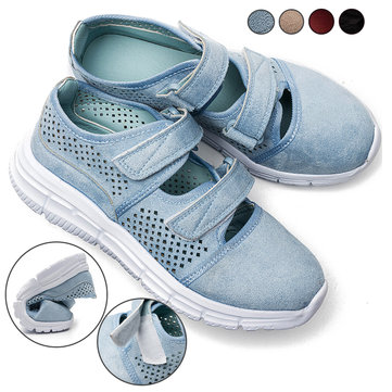 Large Size Women Casual Mesh Hollow Breathable Hook Loop Sneakers