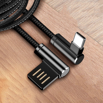 Bakeey 2.4A Dual 90 Degree Elbow Type C Micro USB Fast Charging Data Cable For Xiaomi MI8 MI9 HUAWEI Oneplus 7 Pocophone F1 S10 S10+