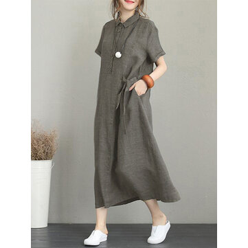 Women Casual Button Down Casual Loose Short Sleeve Dress with Pockets