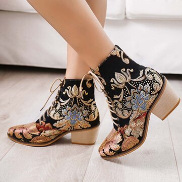 Large Size Women Pointed Toe Embroideried Lace Up Block Heel Ankle Boots