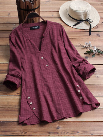 Vintage Plaid Side Button V-neck Long Sleeve Plus Size Shirt Blouse