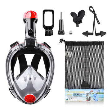 CAMTOA Foldable 180° Full Face Snorkeling Mask Anti-fog Diving Respirator Mask with Detachable Camera Stand Net Bag