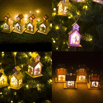 LED Christmas Wooden House Tree Night Light Decoration Hanging Ornament Holiday Cabin Gift