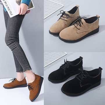 Large Size Women Casual Pure Color Lace Up Flats