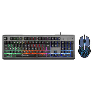 Colorful Backlight USB Wired Gaming Keyboard 2400DPI LED Gaming Mouse Combo for PC Game E sports