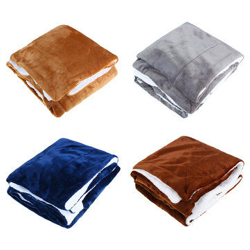 4 Colors Flannel Sherpa Throws Fleece Blankets Sofa Bedding Office Sleep Large Double King Soft Warm