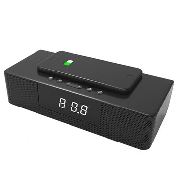 BS-39A Wireless Charging Bluetooth Speaker Hands-free Calling Smart Alarm with Remote Control Audio Soundbar