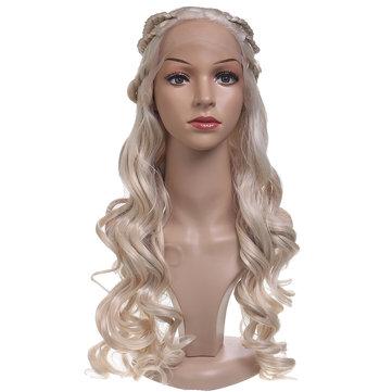 24 Damen natürliche gewellte Lace Front Perücke Mädchen goldene blonde lockige synthetische Haare