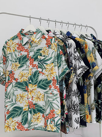 Women Casual Button Leaves Floral Print Beach Holiday Summer Blouse